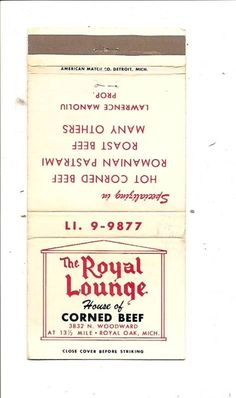 The Royal Lounge Corned Beef N Woodward Royal Oak MI MB