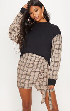 1a89fc225b Black Contrast Check Sleeve Sweater Two Piece Sets