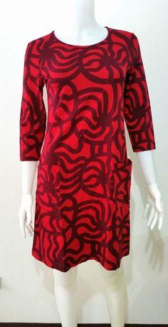 "MARIMEKKO ""MURU"" RED/PURPLE  DRESS  SIZE XS #Marimekko #Casual"