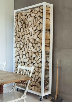 wall of wood...doing this if we have a wood burning fire place...need to keep wood in the house anyways, so it might as well look good too...like the wheels so you can wheel it to the door, load it & wheel it back to the fire place.
