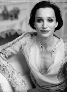 Kristin Scott Thomas.  Beautiful despite a large nose and a flat chest!  Fabulous bone structure and deep set eyes.
