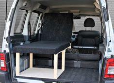 The Simple solo camper van conversion in seating mode with the optional cushion set. Van Conversion Layout, Sprinter Van Conversion, Camper Van Conversion Diy, Small Camper Vans, Small Campers, Campervan Bed, Campervan Ideas, Berlingo Camper, Kangoo Camper