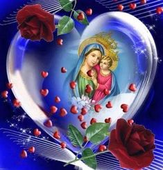 Jesus And Mary Pictures, Pictures Of Jesus Christ, Bible Pictures, Beautiful Flowers Wallpapers, Beautiful Rose Flowers, Blessed Mother Mary, Blessed Virgin Mary, Mary Magdalene And Jesus, Happy Mother's Day Gif
