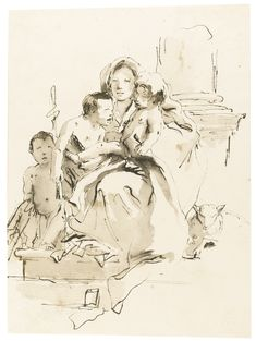 GIOVANNI BATTISTA TIEPOLO VENICE 1696 - 1770 MADRID MADONNA AND CHILD WITH THE INFANT ST. JOHN THE BAPTIST AND ANOTHER YOUNG CHILD Pen and black ink and two shades of gray wash 265 by 199 mm; 10 7/16 by 7 13/16  in