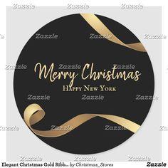 Elegant Christmas Gold Ribbon  Black Background Classic Round Sticker