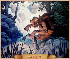 Gollum (at the forbidden pool), image taken from the calendar of 1978, illustration by Hildebrandt Brothers