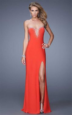 La Femme 21071 Fitted Long Slit Formal Prom Dresses Cheap