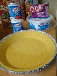 jell-o, cool-whip, yogurt, graham cracker pie crust (jello fruit recipes) Jello Pie Cool Whip, Cool Whip Pies, Cool Whip Desserts, Jello Desserts, Jello Recipes, Yogurt Recipes, Recipies, Pie Recipes, Diet Desserts