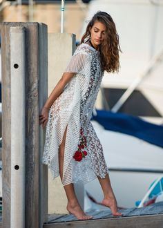 986be6ba74118 Items similar to White Summer dress, Lace dress Kaftan, Beach wedding  Dress, Engagement dress, Beach Cover up Vintage DIY Handmade in Miami Resort  Cruise on ...
