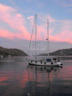Amel sailboat  in Greek Island Sunset 1