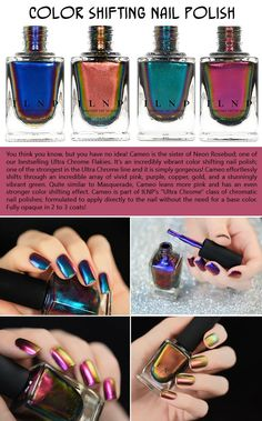 "Nail that look!  This is an absolutely sublime Ultra Chrome polish with an unimaginable color shift and mirror like finish! It magically cascades through vibrant hues of green, gold, red, and everything in between! This polish is SEVERELY distracting. You and anyone nearby will be mesmerized at how effortless the colors change on your fingertips. Expect complete strangers to stop and ask you about how your nails are ""doing that."""