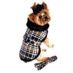 Doggie Design Brown Classic Plaid Wool/fur Collared Harness Coat W/leash Size Medium (Chest 16-19, Neck 13-16, Weight 11-15lbs.) *** Wow! I love this. Check it out now! : Accessories for dog