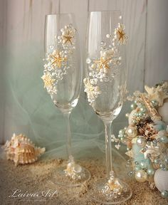 Playa boda Champagne flautas de Novia de la boda por LaivaArt