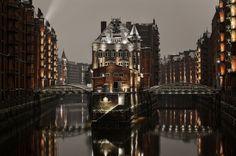 Hamburg, Speichserstadt, Nacht, Winter, Fleet, Wasserschlößchen, Schnee, Wasser, Langzeit