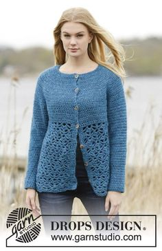 """Crochet DROPS jacket round yoke, trebles and lace pattern, worked top down in """"Air"""". Size: S - XXXL. ~ DROPS Design"""