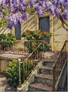 Por Amor al Arte: Los Paisajes mediterraneos de Kiku Poch. Landscape Paintings, Beautiful Pictures, Drawings, Artist, Plants, House, Pastels, Ali, Landscaping
