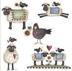 Time for Tea - Country collage by Debbie Mumm Primitive Painting, Primitive Folk Art, Primitive Crafts, Country Primitive, Primitive Snowmen, Primitive Christmas, Country Christmas, Christmas Christmas, Wood Crafts