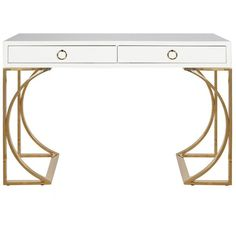 Worlds Away Vanessa Desk ($2,508) ❤ liked on Polyvore featuring home, furniture, desks, lacquer desk, hardware furniture, white desk, white lacquer desk and lacquer furniture