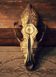 The Eternal Mystery by ~DelaneyLaFae painted coyote skull Deer Skulls, Cow Skull, Animal Skulls, Arte Tribal, Tribal Art, Coyote Skull, Crane, Larp, Skull Painting