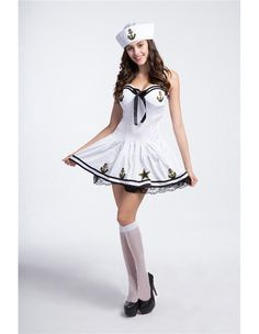Cute White Navy Sailor Girl Womens Halloween Costume Sailor Halloween Costumes, Halloween Diy, Navy Costume, French Maid Costume, Oktoberfest Costume, Navy Sailor, Maid Dress, Medieval Dress, Hot Outfits