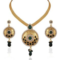 Elegant Green Stone Plated Wedding Wear Gold  Women Jewelry Necklace  Set #natural_gems15