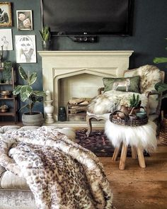 cosy hygge space with layered colours and textures, leopard print throw, sheepskin uk rare rug and vintage rug against cosy fireplace Etsy Vintage, Vintage Rugs, Cosy Fireplace, Dark Interiors, Vintage Home Decor, Hygge, No Time For Me, Interior Inspiration, Home Accessories