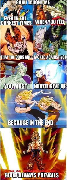 Goku taught me to never give up and always eat before fighting an strong opponents!!! - Visit now for 3D Dragon Ball Z shirts now on sale! Dbz Memes, Anime Comics, Saga, Dbz Drawings, Noragami, Dragonball Z, Akira, Naruto, Goku Quotes