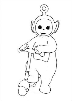 teletubbies po play scooter coloring picture for kids