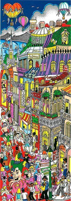 "Return, Rebuild, ReNew New Orleans  5.25"" x 15.25"".  Artist Charles Fazzino"