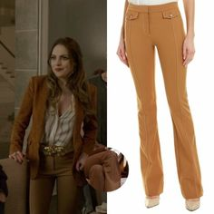 Fallon Carrington wears these Derek Lam 10 Crosby tan flared tab-detailed trousers on Dynasty Classy Business Outfits, Casual Work Outfits, Work Casual, Classy Outfits, Chic Outfits, Fashion Outfits, Der Denver Clan, Work Looks, Character Outfits