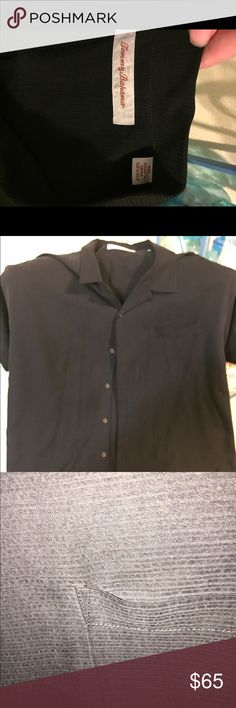 100% silk Tommy Bahamas shirt sleeve shirt This shirt is in excellent condition, no fading but pick makes it look as it is. Nice black color,100% silk Tommy Bahama Shirts Casual Button Down Shirts