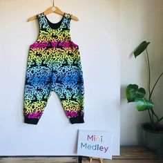 "Mini Medley on Instagram: ""🌈 winter rainbows 🌈  Someone said to me recently that I should rename this fabric, to Scandi rainbow, because they'd wear it all year…"" Dungarees, Rainbows, Playsuit, Parachute Pants, Suits, Children, Mini, Winter, Fabric"