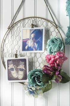 Floral Hanging Frame: Give a plain wire frame a burst of spring by arranging faux flowers around the edge. Add photos or other mementos for a personal touch.