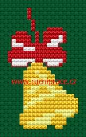 Christmas bell, free cross stitch patterns and charts - www.free-cross-stitch.rucniprace.cz