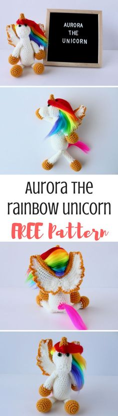 Meet Aurora the Rainbow Unicorn! Get the full free crochet pattern when you click over to the blog post :)