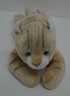"FAO Schwarz Floppy Kitty CAT Plush Gray STRIPES Bean Bag Laying 12"" #FAOSchwarz http://stores.ebay.com/Lost-Loves-Toy-Chest/_i.html?image2.x=19&image2.y=12&_nkw=fao+schwarz"
