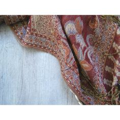 Vintage Boho Wrap Scarf, Glitter Rust Red Hippie Long Fringe Scarf,... ($27) ❤ liked on Polyvore featuring accessories, scarves, holiday scarves, evening shawls, colorful scarves, fringe scarves and oblong scarves