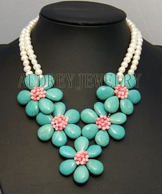 flower necklace,strand necklace,beaded necklace,beadwork necklace,pearl necklace,turquoise necklace,Beaded Jewelry