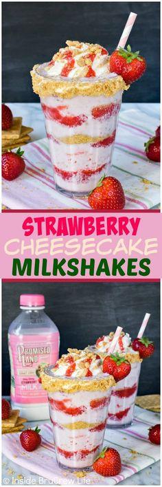 Cheesecake Milkshakes - layers of strawberry sauce, milkshake, and gr. Strawberry Cheesecake Milkshakes - layers of strawberry sauce, milkshake, and graham cracker crumbs makes one amazing frozen drink. Strawberry Cheesecake, Strawberry Recipes, Strawberry Sauce, Cheesecake Desserts, Frozen Cheesecake, Cantaloupe Recipes, Yogurt Recipes, Yummy Drinks, Delicious Desserts