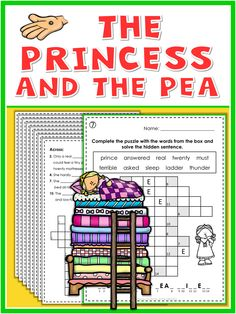 The Princess and the Pea puzzles. This set of fun and engaging puzzles and worksheets goes along with the story of the Princess and the Pea. They provide practice in spelling and matching and are excellent for homework, review, fast finishers and just for fun. I have included all answer keys. Enjoy!