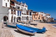 The village of Calella de Palafrugell (Costa Brava, Catalonia, S by photocluster on Cadaques Spain, Girona Spain, Begur Costa Brava, Boat Drawing, Places To Rent, Beautiful Places, Barcelona, Around The Worlds, City