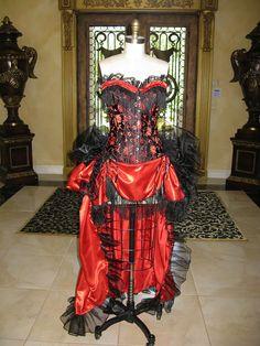 black & red Burlesque corset & bustle skirt