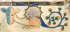 flower-tailed dragon  Luttrell Psalter, England ca. 1325-1340 (British Library, Add 42130, fol. 178v)