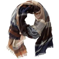 Tyson Stripes & Plaid Scarf ($59) ❤ liked on Polyvore featuring accessories, scarves, blue plaid, travelsmith, tartan plaid shawl, blue shawl, blue scarves and tartan plaid scarves