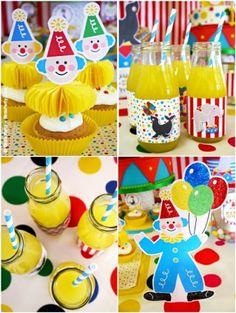 Party printables anniversaire enfant thème cirque pour anniversaire, sweet tables, mariage et fête baby shower.
