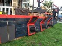 41 feet in total length and 8 feet wide.3 PORT cannon's wired with lights and smoke... And a 120 lb air Cannon. All on timersThe Teak Helm is powered with a motor and motion sensors. Davy Jones will be the captain when he is ready to come out.2 Deck Cannons with lights and Smoke on timers.Well have a deck hand on the front of the boat with a light (motorized) to help guide the vessel to shore.Capt Jack will be trying to escape in the dinngy with the gold (to be shown later in the month%