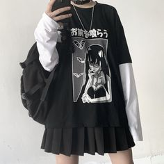 Do you like this anime long sleeve Want or need? Search T-shirt sku : Halloween sale ☠️🎃🎃 code from any order October. Edgy Outfits, Retro Outfits, Grunge Outfits, Cute Casual Outfits, Hippie Outfits, Scene Outfits, Mode Emo, Mode Hipster, Egirl Fashion