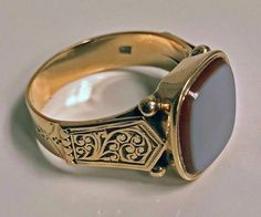 View this item and discover similar signet rings for sale at - Antique Gold Gents Signet Ring Sardonyx Austria Nice large size un engraved sardonyx approximately 14 mm cushion finely carved shoulders - June 15 2019 at