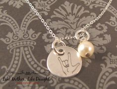 ASL Sign Language Sterling Silver Necklace by MotherDaughterJewel, $23.00