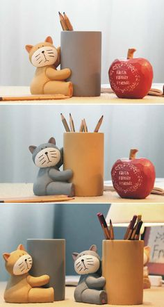 Cat Bamboo Pen & Pencil Holder Desk Organizer